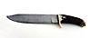 Couteau grand chasse damas feuilleté, manche en bois de cerf de B. Delor