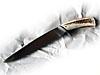 Grand couteau de chassse à manche en bois de cerf